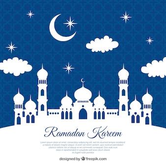 Fondo de ramadán con silueta blanca de mezquita