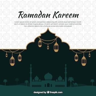 Fondo de ramadán con silueta de mezquita en estilo plano