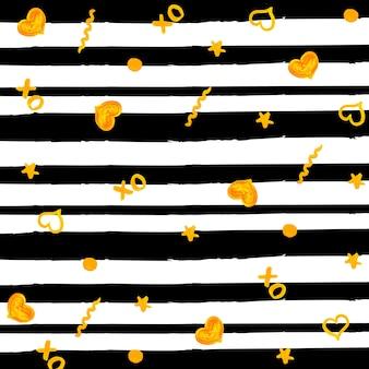 Fondo de rayas negras con elementos dorados