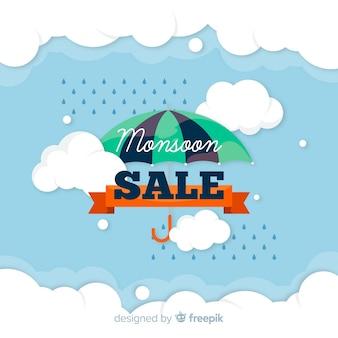 Fondo de rebajas de época de monzón con paraguas y lluvia