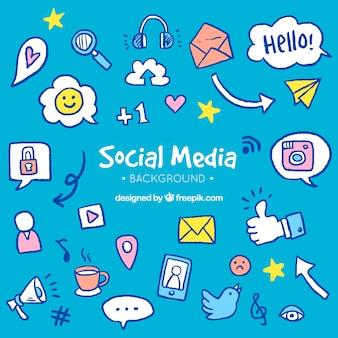 Fondo de redes sociales con elementos dibujados a mano
