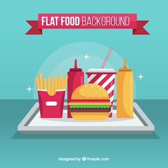 Fondo de restaurante de comida rápida con diseño plano