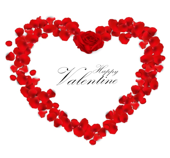 Fondo de san valentín con corazón de pétalos de rosa