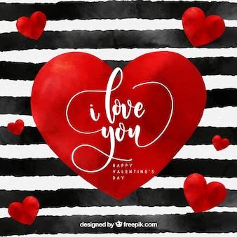 Fondo de san valentín en acuarela de rayas y con corazón rojo