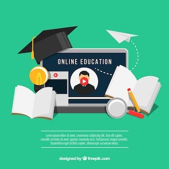 Fondo de seminario online en estilo plano