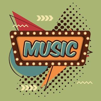 Fondo de semitono vintage comic de burbuja de discurso de música