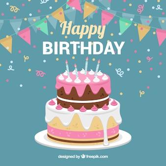 Fondo de tarta de cumpleaños con guirnaldas