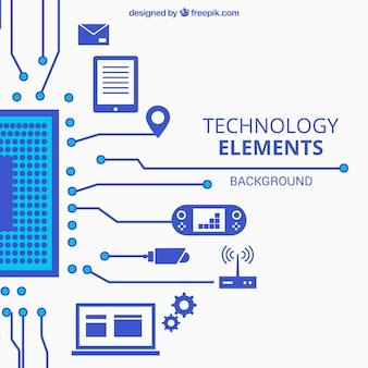 Fondo de tecnología con dispositivos en estilo plano