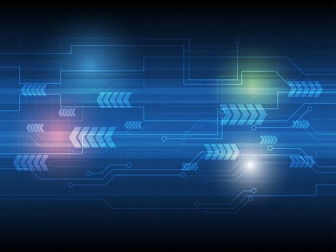 Fondo de tecnología de vector con placa de circuito azul y flecha