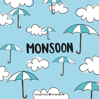 Fondo de temporada de monzón con nubes y paraguas