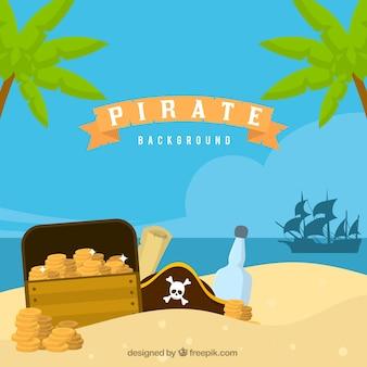 Fondo de tesoro en la arena