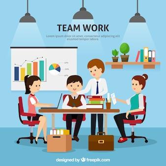 Fondo de trabajo en equipo en estilo plano