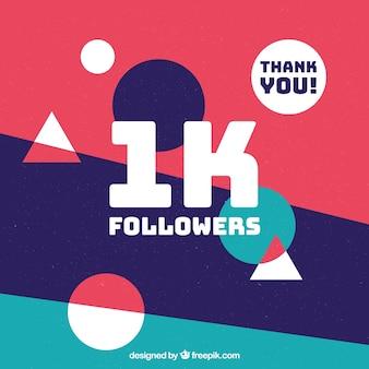 Fondo de triángulos y círculos de 1k de seguidores