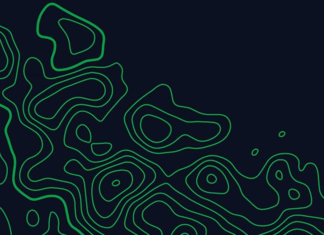 Fondo de vector de líneas topográficas verdes