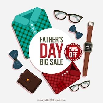 Fondo de venta de día del padre con ropa
