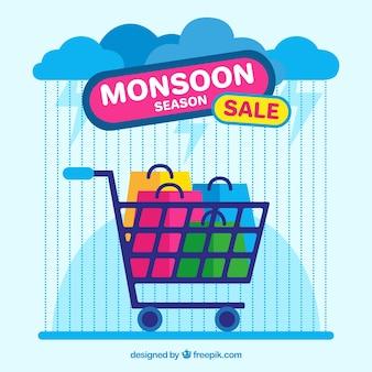 Fondo de venta de temporada de monzón con carrito de la compra