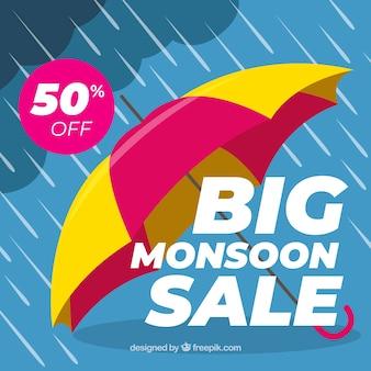 Fondo de venta de temporada de monzón con paraguas