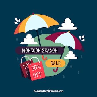 Fondo de venta de temporada de monzón en estilo plano