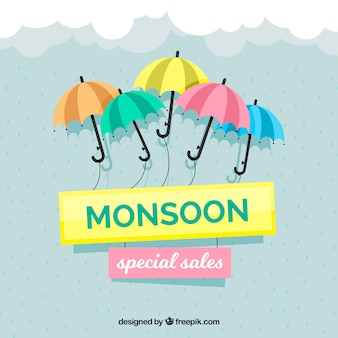Fondo de venta de temporada monzón con paraguas