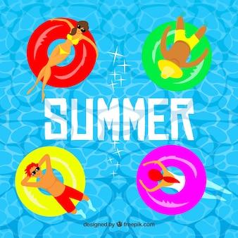 Fondo de verano con gente en la piscina