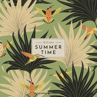 Fondo de verano con vegetación en estilo vintage