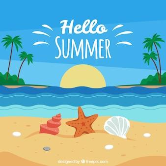 Fondo de verano con vista de playa
