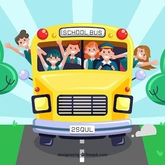 Fondo de vuelta al colegio con diseño plano