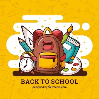 Fondo de vuelta al colegio con elementos