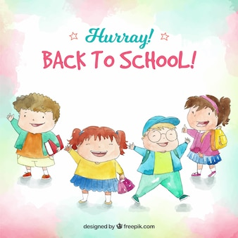 Fondo de vuelta al colegio con estudiantes felices