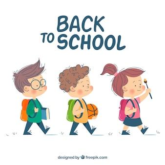 Fondo de vuelta al colegio con estudiantes