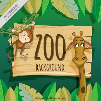 Fondo de zoo de simpática jirafa y mono
