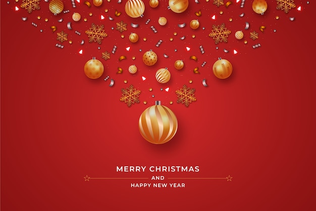 Fondo de decoración de bolas de navidad realista
