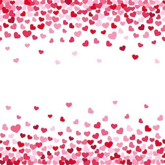 Fondo de decoración de la caída de san valentín corazones confeti