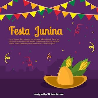 Fondo de decoración de festa junina con sombrero y maíz
