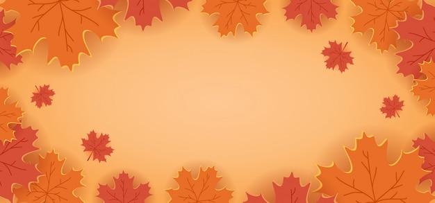 Fondo de decoración floral de corte de papel con hojas de arce colores naranja