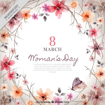 Fondo de decoración floral del día de la mujer