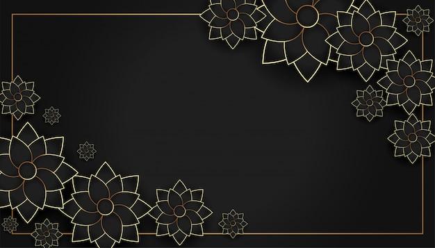 Fondo de decoración de flores con estilo negro y dorado