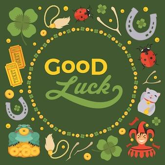 Fondo de decoración hecho de lucky charms, y las palabras good luck