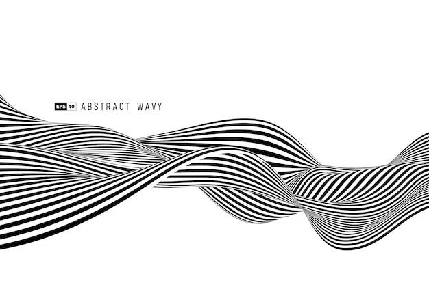 Fondo de decoración de línea abstracta raya mínima blanco y negro.