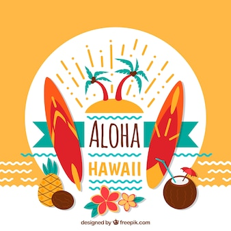 Fondo decorativo de aloha y tablas de surf