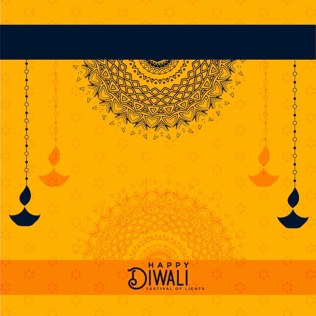 Fondo decorativo amarillo feliz diwali