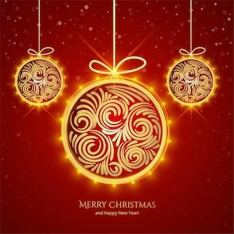 Fondo decorativo bola dorada navideña