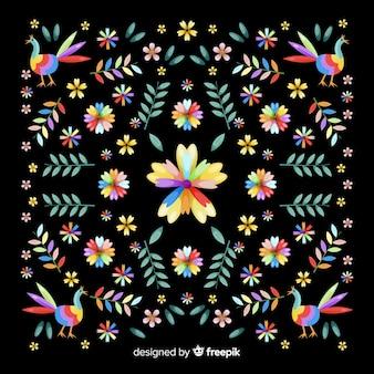 Fondo decorativo bordado floral mexicano