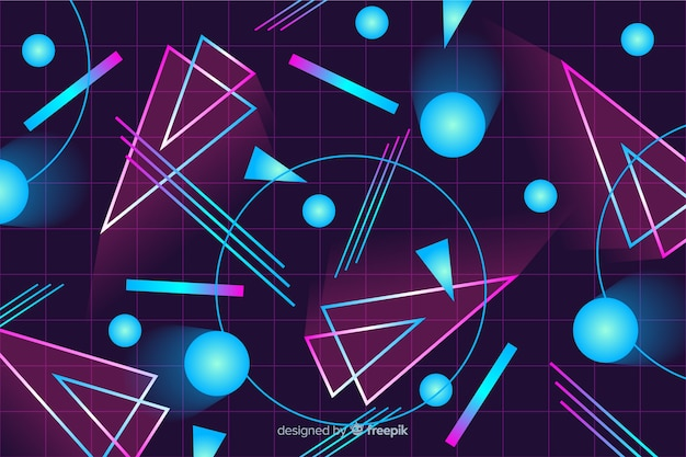 Fondo decorativo colorido geométrico de los años 80.