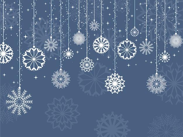 Fondo decorativo de copos de nieve y estrellas