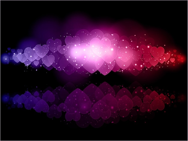 Fondo decorativo de corazones en colores del arco iris