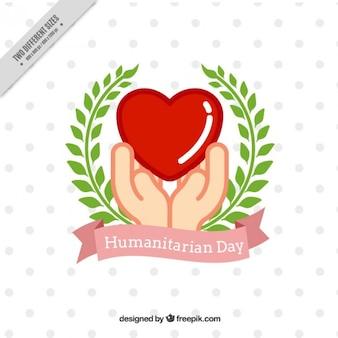 Fondo decorativo del día humanitario con manos y corona de laurel