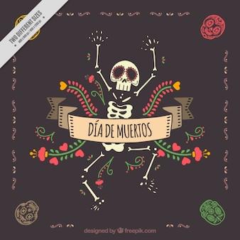 Fondo decorativo del día de los muertos con simpático esqueleto