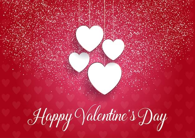 Fondo decorativo del día de san valentín con corazones colgantes