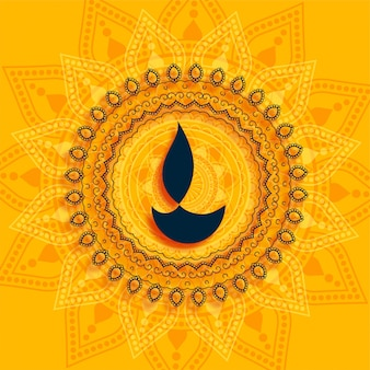 Fondo decorativo de diwali diya mandala estilo amarillo